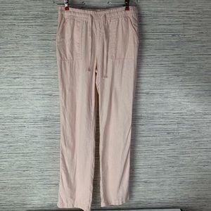 🎁Cato Drawstring Linen Blend Pink Pants Pockets